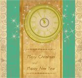 Happy New Year and Merry Christmas background. Happy New Year and Merry Christmas vintage background with clock vector illustration