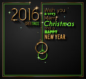 2016 Happy New Year and Merry Christmas Background Royalty Free Stock Photo