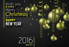 2016 Happy New Year and Merry Christmas Background Stock Photo