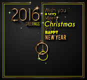 2016 Happy New Year and Merry Christmas Background Royalty Free Stock Photos