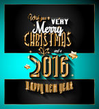 2016 Happy New Year and Merry Christmas Background. For your seasonal wallpapers, greetings card, dinner invitations, pary flyers, covers and so on Royalty Free Stock Photography