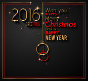 2016 Happy New Year and Merry Christmas Background. For your seasonal wallpapers, greetings card, dinner invitations, pary flyers, covers and so on Stock Photos