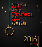 2016 Happy New Year and Merry Christmas Background. For your seasonal wallpapers, greetings card, dinner invitations, pary flyers, covers and so on Royalty Free Stock Images