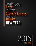 2016 Happy New Year and Merry Christmas Background Royalty Free Stock Photography