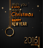 2016 Happy New Year and Merry Christmas Background. For your seasonal wallpapers, greetings card, dinner invitations, pary flyers, covers and so on Vector Illustration