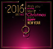 2016 Happy New Year and Merry Christmas Background for your seasonal wallpapers. Greetings card, dinner invitations, pary flyers, covers and so on Royalty Free Stock Images