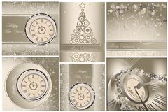 Happy New Year and Merry Christmas backgrounds. Collection of Happy New Year and Merry Christmas backgrounds royalty free illustration