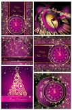 Happy New Year and Merry Christmas backgrounds. Collection of Happy New Year and Merry Christmas backgrounds stock illustration
