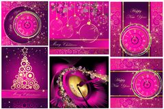 Happy New Year and Merry Christmas backgrounds. Collection of Happy New Year and Merry Christmas backgrounds Stock Image