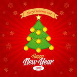 Happy New Year 2016 and Merry Christmas banner, postcard, christmas card.  stock illustration