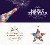 Happy new year 2015 Merry christmas bottle star Royalty Free Stock Photo