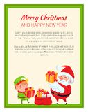 Happy New Year and Merry Christmas Bright Banner. With cute elf and Santa Claus in green frame. Vector illustration with fairy tale xmas characters Stock Image
