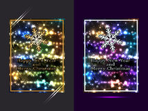 Happy new year and merry christmas bright set Stock Images