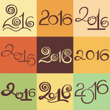 Happy New 2016 Year and Merry Christmas. Calligraphic hand drawn. Character lettering sign set 10 in 1 stock illustration