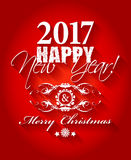 2017 Happy New Year and Merry Christmas card or background. Stock Photos