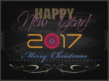 2017 Happy New Year and Merry Christmas card or background. Royalty Free Stock Photos