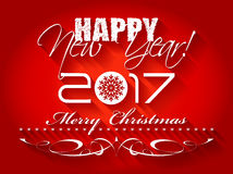 2017 Happy New Year and Merry Christmas card or background. Royalty Free Stock Image
