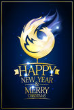 Happy new year 2017 and merry Christmas card with burning rooster. Happy new year 2017 and merry Christmas card with burning golden rooster Stock Photos