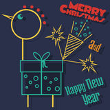 Happy new year and Merry Christmas card. Happy new year and Merry Christmas cock Stock Photo