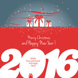 2016 happy new year. Merry Christmas and Happy New Year 2016 card, gifts and personal message, vector Stock Illustration