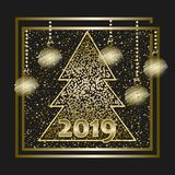 Happy New Year 2019. Merry Christmas card. Happy New Year. Merry Christmas card. 2019. Drawing Christmas balls. Vector Illustration stock illustration