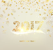 Happy new year 2017. Merry Christmas card over gray background with golden sparks. Happy new year 2017. Holiday card. Template for your design. Vector Stock Photos