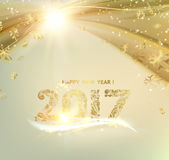 Happy new year 2017. Merry Christmas card over gray background with golden sparks. Happy new year 2017. Holiday card. Template for your design. Vector Stock Photography