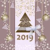 Happy New Year 2019. Merry Christmas card with ribbon on a light background. Happy New Year. Merry Christmas card with ribbon on a light background. 2019. Vector stock illustration