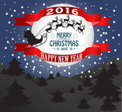 Happy New Year and Merry  Christmas. New year and Christmas card with Santa Claus Stock Image