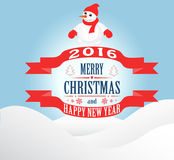 Happy New Year and Merry  Christmas. New year and Christmas card with a snowman Royalty Free Illustration