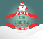 Happy New Year and Merry Christmas. New year and Christmas card with a snowman vector illustration