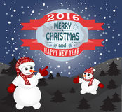 Happy New Year and Merry Christmas. New year and Christmas card with a snowman stock illustration