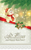 Happy New Year 2015. Merry christmas card with snowman under the branches of spruce Royalty Free Stock Photography