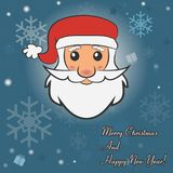 Happy New Year and Merry Christmas card. Vector Illustration. Happy New Year card. Merry Christmas holiday poster with Santa Claus. Vector Illustration Stock Images
