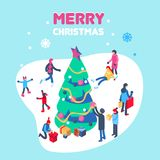 Happy new year and merry christmas card with winter outdoor leisure activities. Isometric vector illustration. Stock Images