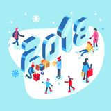 Happy new year and merry christmas card with winter outdoor leisure activities. Isometric vector illustration. Stock Photos