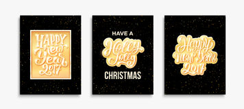 Happy New Year 2017 and Merry Christmas cards Royalty Free Stock Images