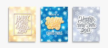 Happy New Year 2017 and Merry Christmas cards. Have a Holly Jolly Christmas and Happy New Year 2017 lettering on greeting cards collection. Vector poster royalty free illustration