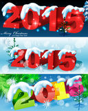2015 happy new year. 2015 Merry Christmas and happy new year celebration background for your posters. Winter snow landscape stock illustration