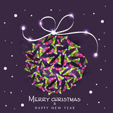 Happy New Year and Merry Christmas celebration concept. Beautiful creative Xmas Ball for Merry Christmas and Happy New Year celebration on stylish purple Stock Photo