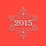 Happy New Year 2015 and Merry Christmas celebration concept. Beautiful text of 2015 with floral design for Happy New Year and Merry Christmas celebration Stock Photo