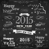 Happy New Year 2015 and Merry Christmas celebration concept. Beautiful typographic collection with floral design for Happy New Year 2015 and Merry Christmas Stock Photos