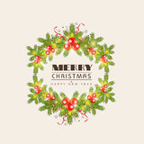 Happy New Year and Merry Christmas celebration concept. Merry Christmas and Happy New Year celebrations greeting card design with mistletoe and fir tree on Stock Photography