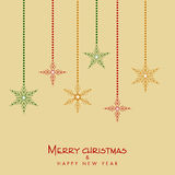 Happy New Year and Merry Christmas celebration with hanging snow. Merry Christmas and Happy New Year celebration with hanging snowflake on beige background stock illustration
