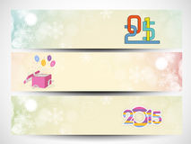 Happy New Year 2015 and Merry Christmas celebration header or ba. Happy New Year 2015 and Merry Christmas celebration website header or banner set Stock Images