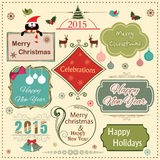 Happy New Year 2015 and Merry Christmas celebration vintage labe. Vintage label, sticker or tag for Merry Christmas and Happy New Year 2015 celebration with Stock Image