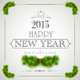 Happy New Year and Merry Christmas celebrations concept. Happy New Year 2015 and Merry Christmas celebration banner, poster or flyer with stylish text, fir tree Stock Images