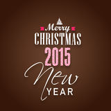 Happy New Year and Merry Christmas celebrations concept. Happy New Year 2015 and Merry Christmas celebration concept with beautiful text on brown background Stock Image