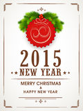 Happy New Year and Merry Christmas celebrations greeting card de. Happy New Year 2015 and Merry Christmas celebration greeting card design with stylish text, fir stock illustration