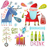 Happy New Year Merry Christmas clip art collection with deer santa gifts bottles and tree Stock Photos